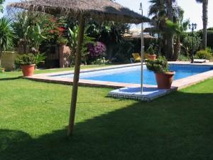 Jardines principales y la piscina.